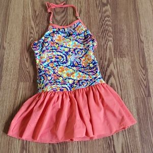 Lands end girls 1 piece bathing suit skirted